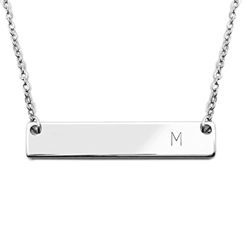 18K Silver Plated Initial Bar Necklace Mothers day Graduation gift 17.5 inch Personalized Bar Necklace (M)