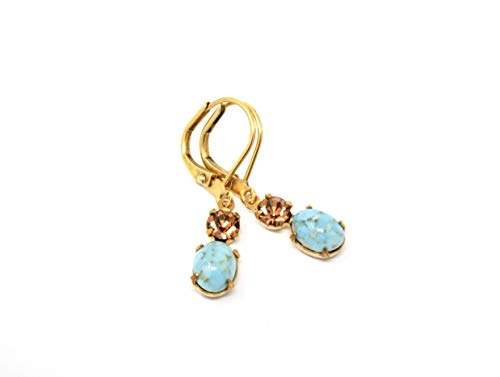 Turquoise and Amber Vintage Jewel Drop Earrings ()