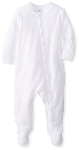 i play. Baby Organic Knitted Terry Footie, White, 3 Months