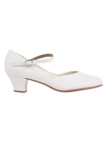 So Danca CH50 zapato carácter suela y tacón de cuero Salsa Rumba Tango Latino Baile de Salón color blanco con pin gratuito blanco
