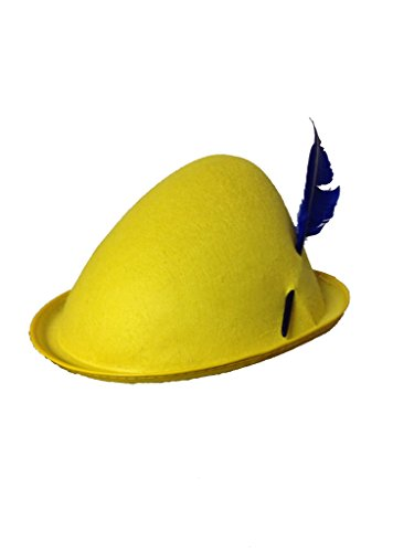 United Mask & Party Alpine Felt Hat With Turkey Feather (One Size Standard Adult, Yellow Hat/Blue -