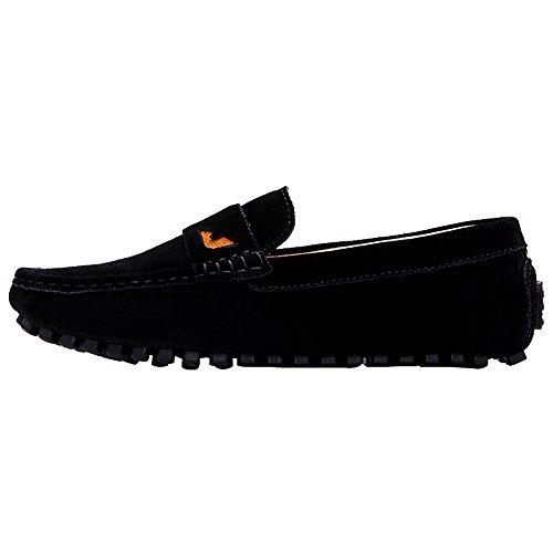 On Shoes Black Loafer rismart Flat Suede Leather Slip Driving Mens Penny Moccasins qHpPvwIZa