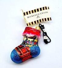 MacKenzie-Child Glass Christmas Ornament - Baby Sock Blue, Keepsake Box. 100% Authentic.