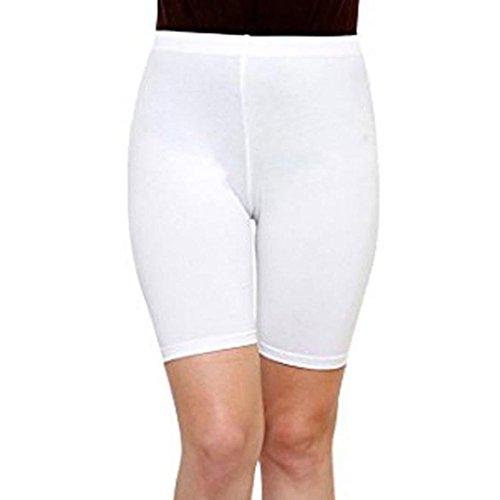 Longra Women Fashion Solid High Elasticity Leggings Gym Active Pants Cycling Shorts Women's Wide Leg Pants White ()