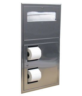 Bobrick B-34745 (Formerly 819844) Recessed Toilet Seat-Cover and Toilet Tissue Dispenser