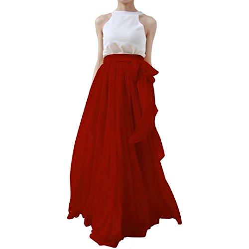 Lanierwedding Summer Beach Chiffon Long High Waist Maxi Skirt With Belt For Wedding 2017 Burgundy Size L