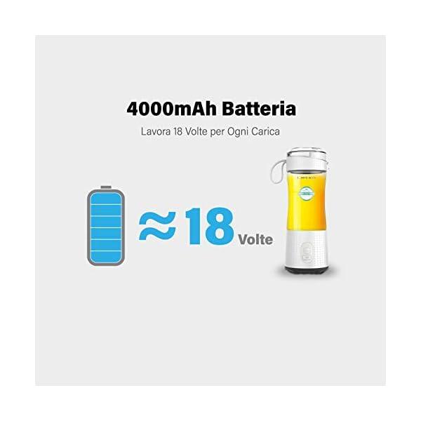 LaHuko Frullatore Portatile, Mini Frullatore per Frullati Multifunzionale con 4000mAh Batteria USB Ricaricabile… 4