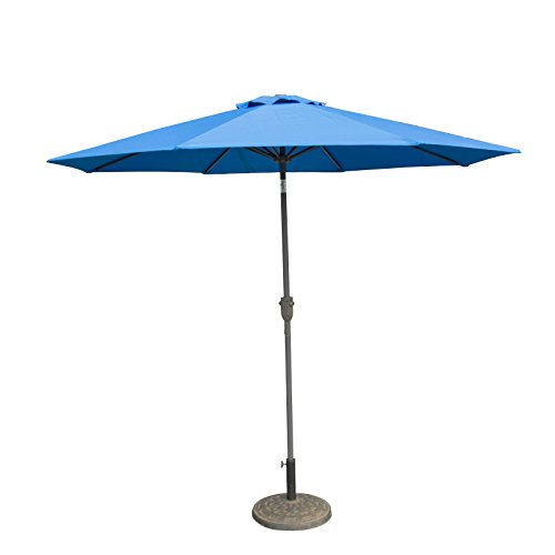 Caymus 9 Ft Market Outdoor Table Patio Umbrella with Push Button Tilt and Crank,8 Ribs, Sky Blue by Caymus