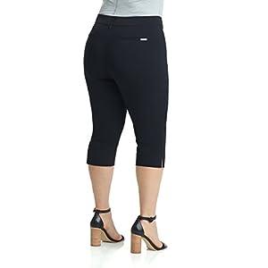 REKUCCI Women's Ease In To Comfort Curvy Fit Plus Size Capri w/Tummy Control (18WSHORT,Black)