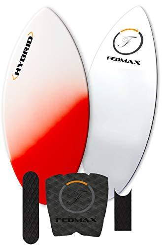 Skimboard with Carbon Fiber Tips and Fiberglass Body Hybrid | with Traction Grip Set | Ultimate Tips Manual (Red, 52 in. (160lbs. to 220lbs.))