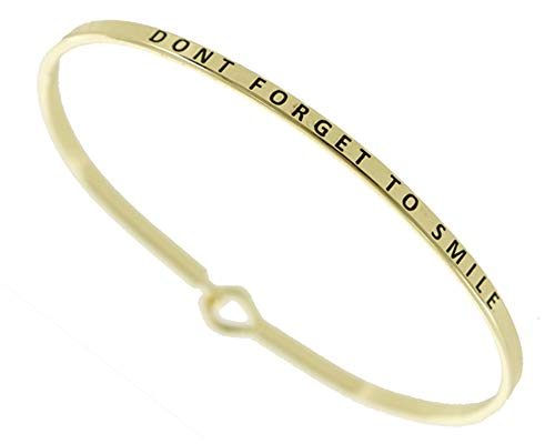 Story Collection Women's -Don't Forget to Smile- 3mm Message Silver Plated Brass Bangle Bracelets (Gold)