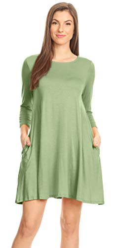 Casual T Shirt Dress for Women Flowy Tunic Dress with Pockets Reg and Plus Size - USA (Size XXX-Large, Sage 3/4 Sleeve)