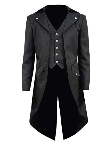 Steampunk Vintage Tailcoat Jacket Gothic Victorian Frock Black Steampunk Coat Uniform Costume for Child (Big Boys 14, Black 2)
