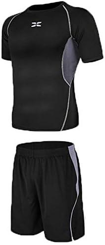 レディースジャージ上下セット Tシャツとルーズショーツ2ピースメンズクイックドライスポーツセット圧縮半袖 吸汗 速乾 (Color : Black gray, Size : XXXL)