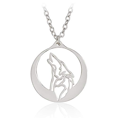 Eiffy Round Howling Wolf Totem Necklace Pendant with Chain for Men and Women Animal Movie Jewelry (Silver)