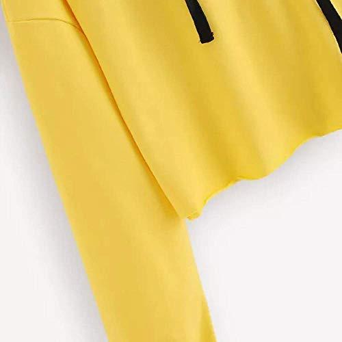 Capuche Zhrui Casual À Sweat Pull Lâche Imprimé Tops À Automne Lettre Jaune Beaux Top Longues Taille M Couleur Femmes Manches Street Vêtements Fille FdFrxvnYq