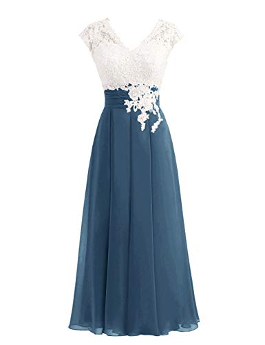 Women's Ivory Lace Top Chiffon Button V-Neck Bridesmaid Dresses with Cap Sleeves Mother of The Bride Dresses (Slate Blue, 8)