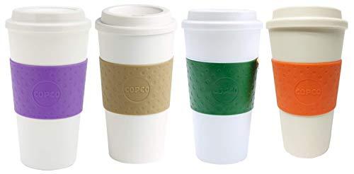 Copco Acadia Reusable To Go Mug, 16-ounce Capacity - 4-pack (Lilac, Tan, Emerald Green, Orange)