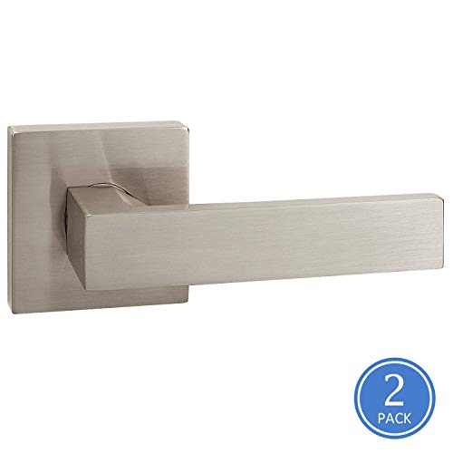 2 Pack Square/Drop Style Satin Nickel Half Dummy Door Handles, Heavy Duty Door Levers, for Office or Home Use, Pull/Push - Set Office Door Function Knob