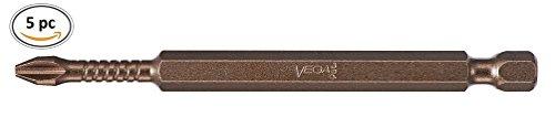 VEGA #2 Phillips Impact Driver Bits. Professional Grade Impactech Impact Ready #3 Phillip 3-1/2'' Long Bits. (Pack of 5) P190P2A-5 by VEGA Industries