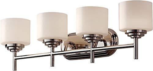 - Feiss VS26004-PN Malibu Glass Wall Vanity Bath Lighting, Chrome, 4-Light (31