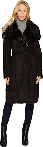 Vince Camuto Womens Wool Coat With Faux Shearling and Faux Fur Detail N1231 Black LG (US 12-14) One Size