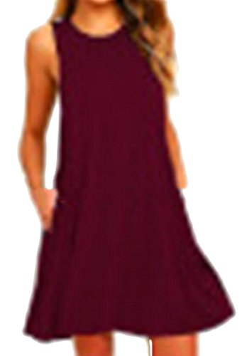 Jaycargogo Poches Sans Manches Femmes Balançoire Occasionnels Flowy Robes T-shirt Rouge Vin