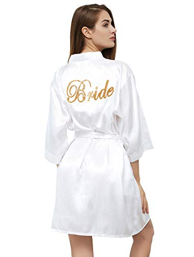 PROGULOVER Kimono Robe for Women Bride Stain Bridesmaid Robes Imitation Silk Short Wedding Party & Bath ()