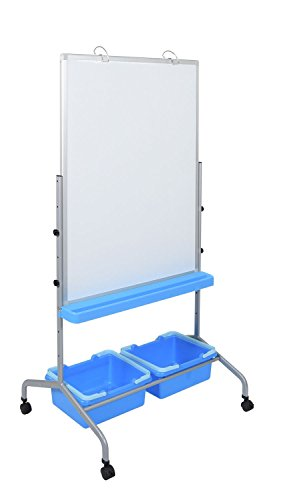 Classroom Whiteboard Chart Stand with Storage Bins by Luxor