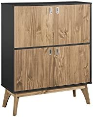 Manhattan Comfort Jackie Tall Midcentury Rustic Standing Storage Cabinet, Dark Grey Natural Wood