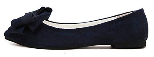 Idifu Womens Habillé Bow Bout Pointu Slip Sur Les Chaussures Chaussures Pompes Large Largeur Bleu