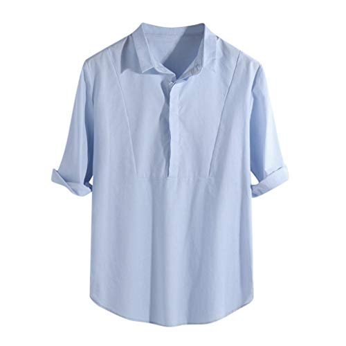 GDJGTA Shirt for Mens Brief Breathable Button Solid Color Long Sleeve Loose Casual T-Shirt Blouse Blue]()