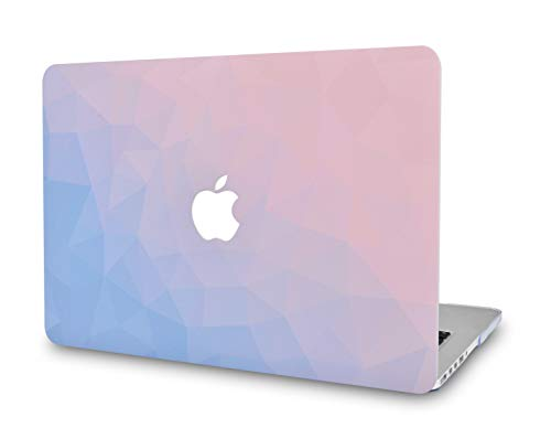 LuvCase Rubberized Plastic Hard Shell Cover Compatible MacBook Pro 13 inch A1989 / A1708 / A1706 with/Without Touch Bar, Newest Release 2019/2018/2017/2016 (Ombre Pink - Rubberized Case Blue Plastic