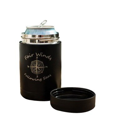 Personalized Matte Black Double Wall Insulated Can Cooler With Locking Gasket to Keep Beverage Cool. (Rebel Flag Koozies)