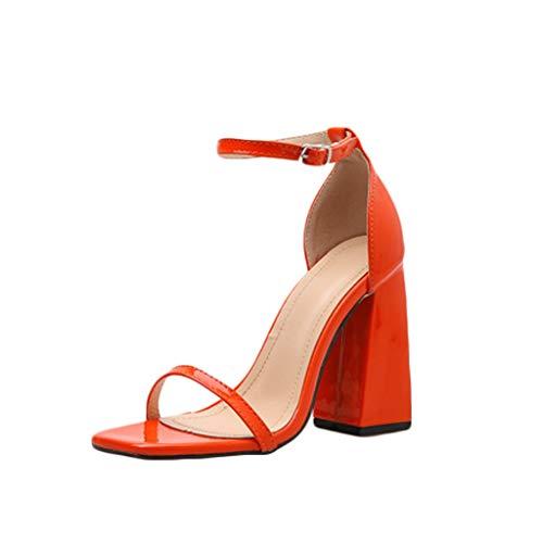 (MmNote Women Shoes, Womens Single Band Hundreds Classic Chunky Block High Heel Pump Sandals Shoes Orange)