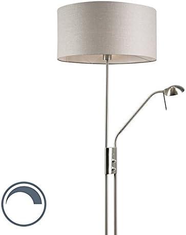 QAZQA Moderno Lámpara de pie acero pantalla gris flexo - LUXOR Textil/Acero Redonda Adecuado para LED Max. 1 x 40 Watt