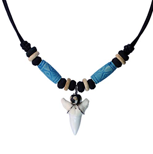 Cross Surfer Necklace - exoticdream Shark Tooth Tribe Beads Necklace Handmade Hawaiian Beach (Sky Blue)