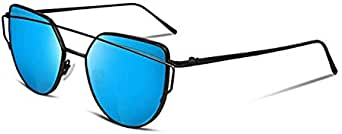 Cat Eye Mirrored Flat Lenses Street Metal Frame Women Sunglasses-Blue