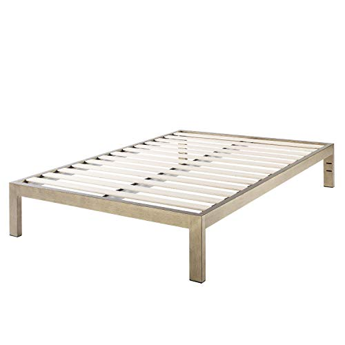 The Frame  Gold Brushed Steel Frame Platform Metal Bed Frame/Mattress Foundation, No Boxspring Needed, Wooden Slat Support, King, 14