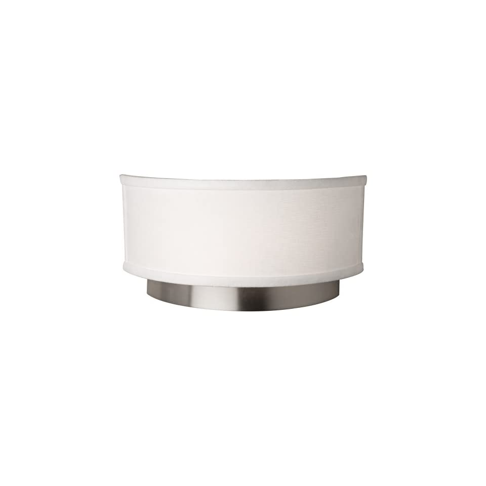 Artcraft Lighting Scandia Wall Sconce Light, Brushed Nickel with White Linen Shade