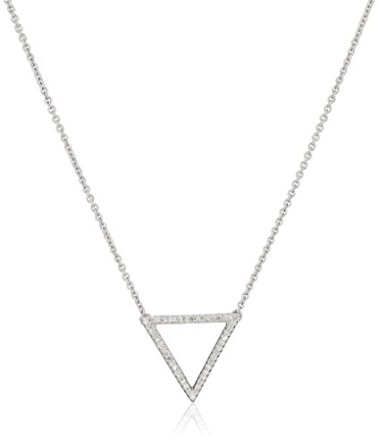 Sterling Silver Diamond Triangle Pendant Necklace (1/10 cttw),