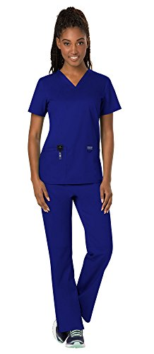 Cherokee Workwear Revolution Women's Medical Uniforms Scrubs Set Bundle - WW620 V-Neck Scrub Top & WW110 Elastic Waist Scrub Pants & MS Badge Reel (Galaxy Blue - XX-Small/XX-Small)