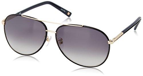Escada Sunglasses Women's SES832V-300X Aviator Sunglasses, Gold,Navy Leather & Gradient Grey, 59 mm Escada Leather