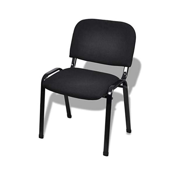 Festnight Chaise de Salle d'Attente | Fauteuil de Visiteur | Chaises de Bureau de 4 pièces en Métal Empilables Noir 54 x…
