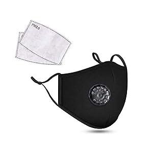 Masque de protection contre la poussière en coton avec filtre respirant et 2 filtres à air au carbone – Protection…