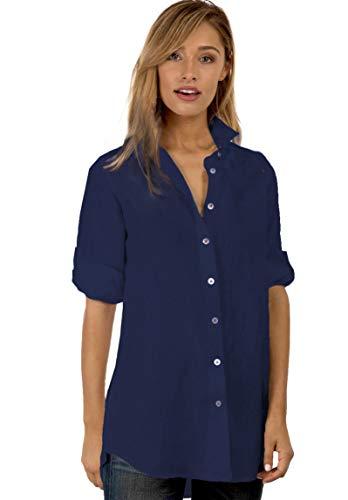 CAMIXA Women's Linen Shirt Dress Button-Down Casual Tunic Simple Chic Coverup XL Navy Blue
