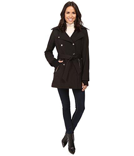 Jessica Simpson Women's Double Breasted Softshell Jacket Black Large -