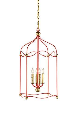 Currey and Company 9033 Carousel - Four Light Ceiling Fixture, Lollipop Red/Gold Leaf Finish