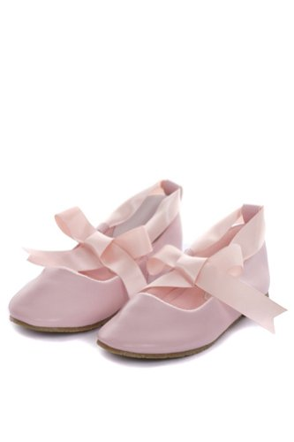 Ballerina Ribbon Tie Rubber Shoes Cinderella Flats Toddler Party Pink Size 7 -