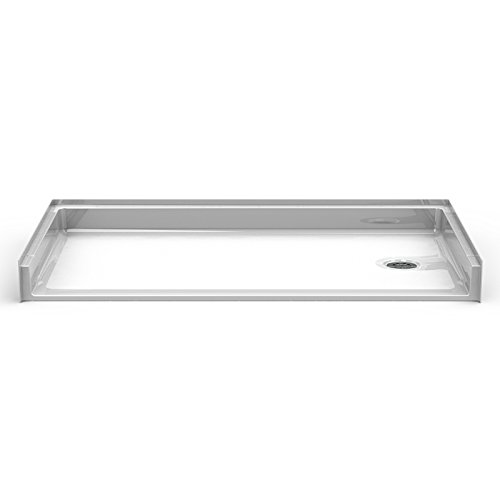 "50%OFF Bestbath 60x32 Roll In Shower Pan, Right Drain, 0.75"" Curb"